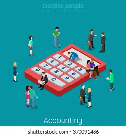 Accounting and finance analytics. Flat 3d isometry isometric business financial bank loan concept web vector illustration. Micro people and huge calculator. Creative people collection.