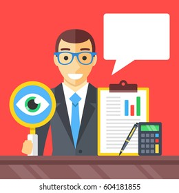 Accounting, financial adviser, investment advisor, auditor concepts. Man with magnifying glass, clipboard, pen, calculator and speech bubble. Modern flat design graphic elements. Vector illustration