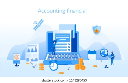 Accounting financial,analysis, market research Concept for web page, banner, presentation, social media, documents, cards, posters. Vector illustration statistics, accounting, deposits, contributions