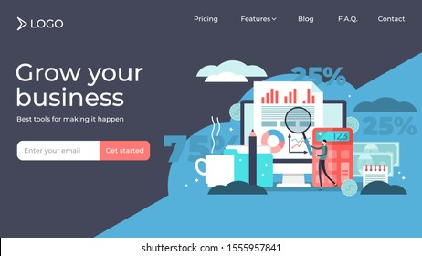 Accounting flat tiny person vector illustration landing page template design. Company finance and tax calculation. Money management report and payment processing service as job. Balance analysis check