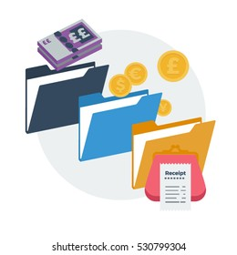 Accounting General Ledger Accounts Expenses Vector Illustration