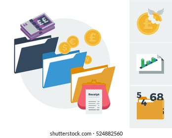 Accounting general ledger with tax, profit and loss, and accounts vector illustration set