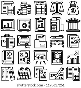 Accounting icon set. Outline set of accounting vector icons for web design isolated on white background