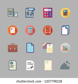 accounting icon set. vector set about calculator, calculating, file and abacus icons set.
