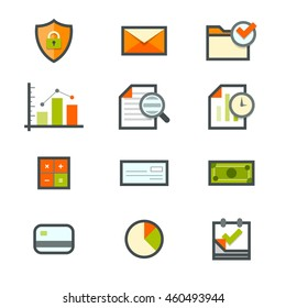 Accounting icons for security, email, mail, files, graphs, forensic, time, calculation, check, cash, credit, pie chart, and date