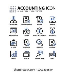 Accounting Icons Set Line Style. Accountant, Profit, Investment, Insurance and More. Editable Stroke Vector Sign And Symbol Collection.
