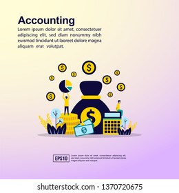 Accounting illustration concept with character. Template for, banner, presentation, social media, poster, advertising, promotion