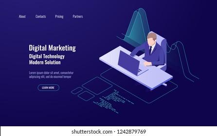 Accounting money management, digital marketing, man sit and work at the computer, analytics and statistics data graph dark neon vector