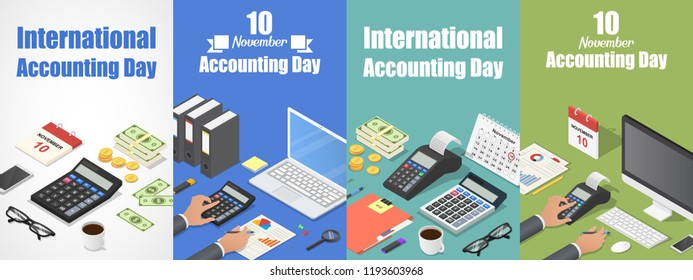 Accounting pay day banner set. Isometric set of accounting pay day vector banner for web design