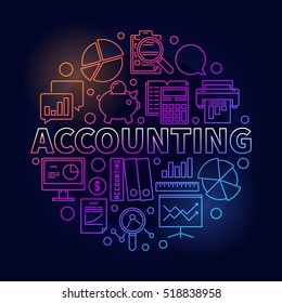 Accounting round bright illustration. Vector colorful business analysis and accounting concept symbol in thin line style on dark background