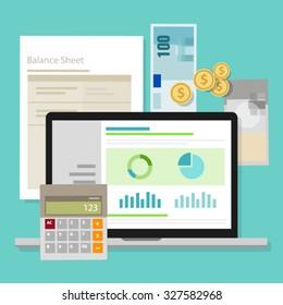 accounting software balance sheet money calculator application laptop