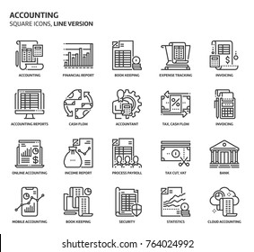 Accounting, square icon set. The illustrations are a vector, editable stroke, thirty-two by thirty-two matrix grid, pixel perfect files. Crafted with precision and eye for quality.