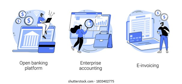 IT accounting system abstract concept vector illustration set. Open banking platform, enterprise accounting, e-invoicing, business financial software, electronic invoice tool abstract metaphor. - Shutterstock ID 1833402775