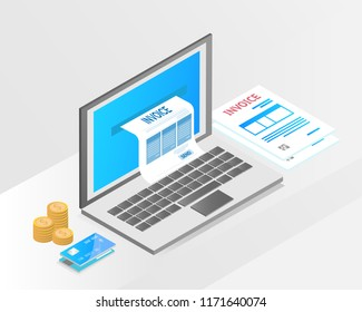 accounting system, isometric concept. there are computer laptop tax invoice,credit card, money and bill payment. vector illustration