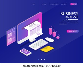 accounting system. there are computer laptop tax invoice and graph screen. vector illustration