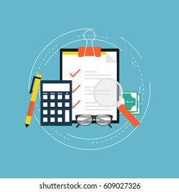 Accounting and taxes flat vector illustration design. Business concept for financial analysis, planning and strategy, financial report, financial market research. Icon design for web banners and apps