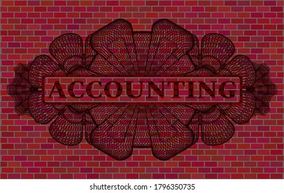 Accounting text inside Guilloche brick stone wall realistic badge. Tiles classic background. Illustration.