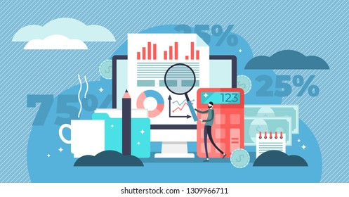 Accounting vector illustration. Flat tiny math calculation persons concept. Company finance and tax calculation. Money management report and payment processing service as job. Balance analysis check.