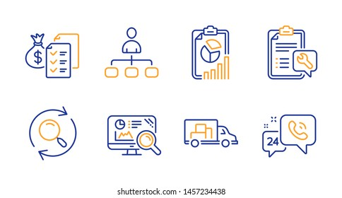 Accounting wealth, Report and Search line icons set. Spanner, Truck transport and Seo analytics signs. Management, 24h service symbols. Audit report, Presentation chart. Technology set. Vector
