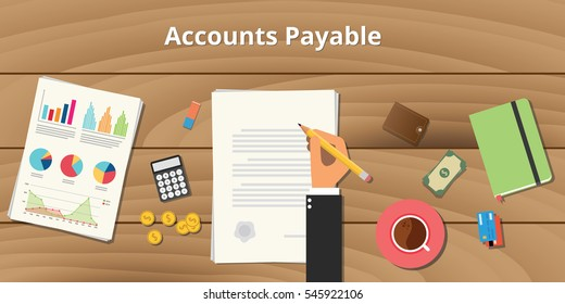accounts payable illustration with businessman working on paper document with graph money chart paperwork on top of table