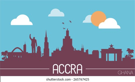 Accra city Ghana skyline silhouette flat design vector illustration