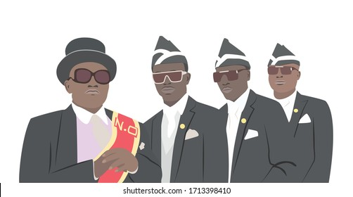 ACCRA, GHANA – APRIL 12, 2020: Vector illustration of Ghana dancing pallbearers;  Coffin dancers at funeral  in GHANA - that can be used for magnets, calendar, greeting card