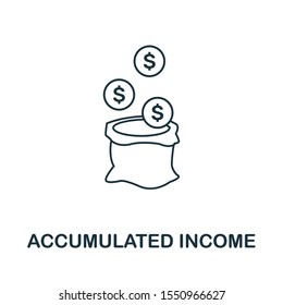 Accumulated Income icon outline style. Thin line creative Accumulated Income icon for logo, graphic design and more.