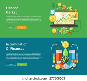 Accumulation of finances concept of a magnet attracting golden coins from one side to the other. Financial diagram on a laptop monitor. News from finance market. Concept in flat design style