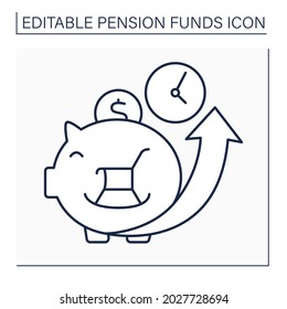 Accumulation line icon. Cumulative money during life. Saving money for better retirement. Piggy bank. Pension fund concept. Isolated vector illustration. Editable stroke