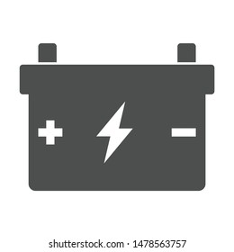 accumulator battery with terminals lightning and polarity plus minus signs icon isolated on white background. accumulator battery flat icon for web, mobile and user interface design