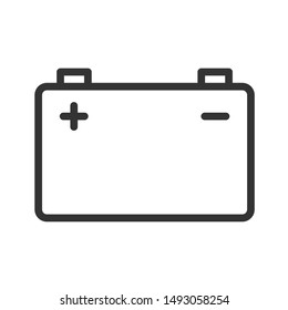 accumulator battery with terminals lightning and polarity plus minus signs outline vector icon isolated on white background. accumulator battery flat icon for web, mobile and user interface design