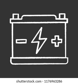 Accumulator chalk icon. Automotive battery. Power supply. Energy accumulation. Lead acid battery. Isolated vector chalkboard illustrations