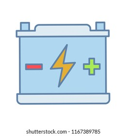 Accumulator color icon. Automotive battery. Power supply. Energy accumulation. Lead acid battery. Isolated vector illustration