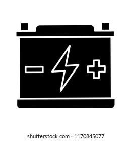 Accumulator glyph icon. Automotive battery. Silhouette symbol. Power supply. Energy accumulation. Lead acid battery. Negative space. Vector isolated illustration