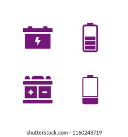 accumulator icon. 4 accumulator set with battery vector icons for web and mobile app