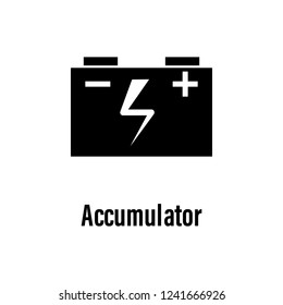 Accumulator icon with description. Element of energy saving icon for mobile concept and web apps. Detailed Accumulator icon can be used for web and mobile