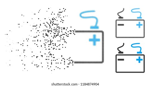 Accumulator icon in fractured, dotted halftone and whole versions. Fragments are organized into vector disappearing accumulator figure. Disintegration effect uses rectangle particles.