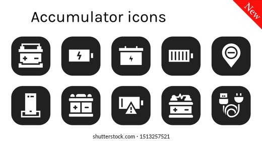accumulator icon set. 10 filled accumulator icons.  Collection Of - Battery, Full battery, Diminish, Charger, Empty battery, Charge icons