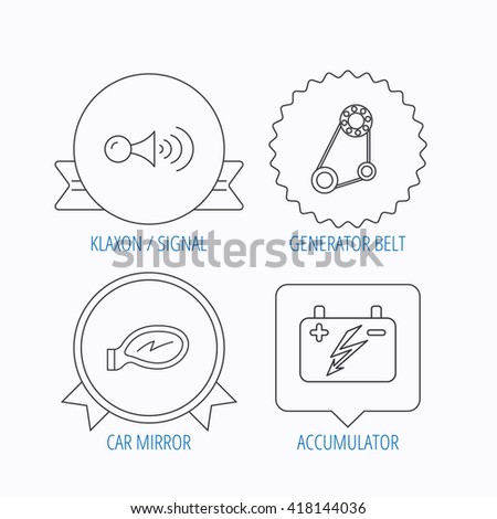 accumulator klaxon signal generator belt icons stock vector royalty