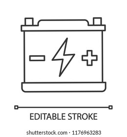 Accumulator linear icon. Automotive battery. Thin line illustration. Power supply. Energy accumulation. Lead acid battery. Contour symbol. Vector isolated outline drawing. Editable stroke