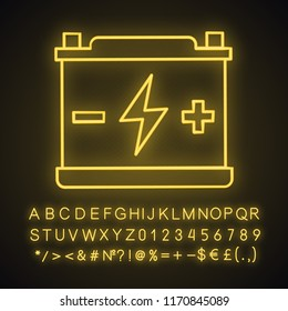 Accumulator neon light icon. Automotive battery. Glowing sign with alphabet, numbers and symbols. Power supply. Energy accumulation. Lead acid battery. Vector isolated illustration