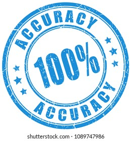 Accuracy 100 guarantee vector stamp isolated on white background