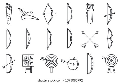 Accuracy archery icons set. Outline set of accuracy archery vector icons for web design isolated on white background