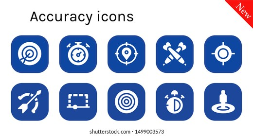 accuracy icon set. 10 filled accuracy icons.  Collection Of - Target, Stopwatch, Darts, Archery, Goal, Dartboard, Stop watch
