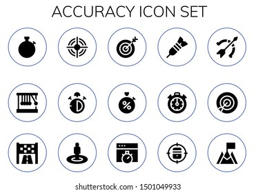 accuracy icon set. 15 filled accuracy icons.  Simple modern icons about  - Stopwatch, Newton cradle, Target, Stop watch, Dart, Stopclock, Archery, Goal, Chronometer