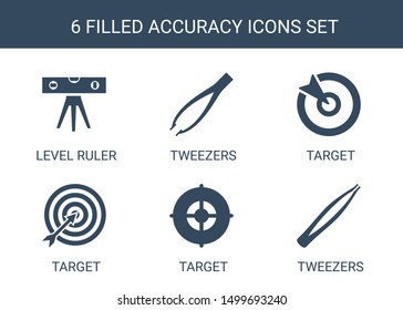 accuracy icons. Trendy 6 accuracy icons. Contain icons such as level ruler, tweezers, target. accuracy icon for web and mobile.
