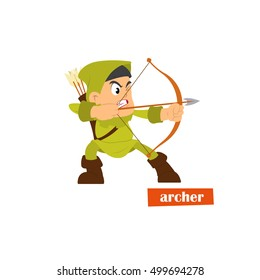 accurate archer aiming a strong bow. vector icon.