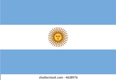 Accurate flag of Argentina in terms of size, placement of elements, colours, and scale