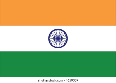 Accurate flag of India in terms of colours, size, proportion, and placement of elements.