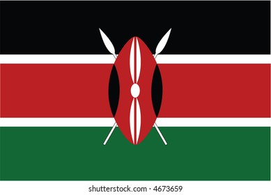 Accurate flag of Kenya in terms of colours, size, proportion, and placement of elements